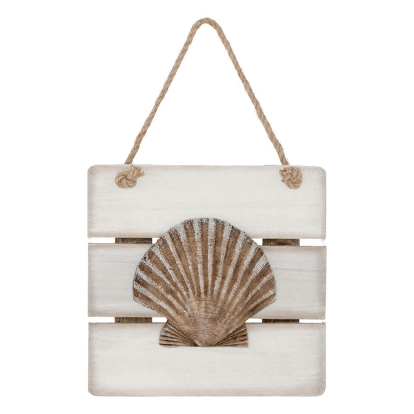 White trim hanging plaque - seashell