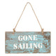 "Blue ""Gone sailing"" hanging plaque"