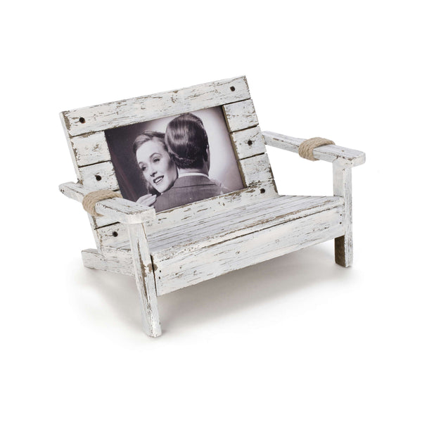 Antique wood white bench photo frame
