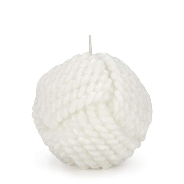 Rope Ball Textured White Candle