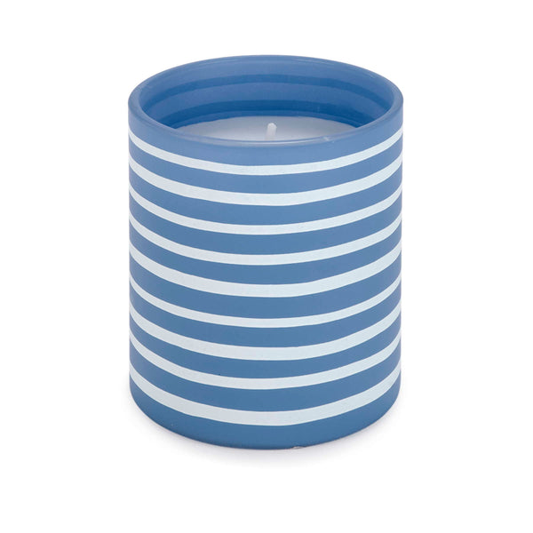 "Blue & white striped 3"" glass candle"