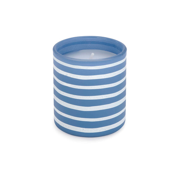 Blue & white striped motif candle