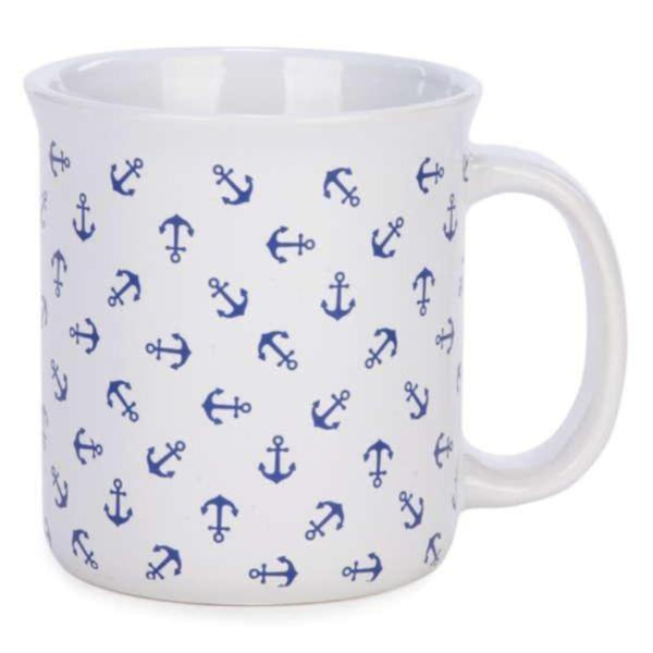 White coffee mug with blue anchors