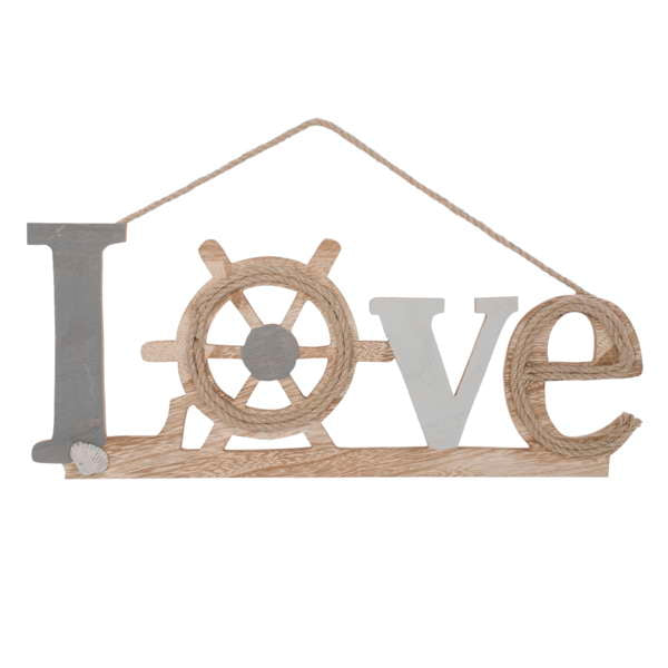 Grey & natural LOVE hanging plaque