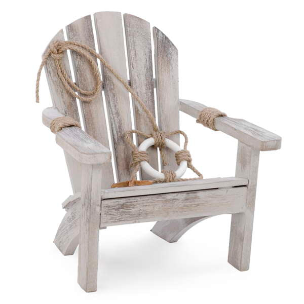 Wooden antique beach chair with rope