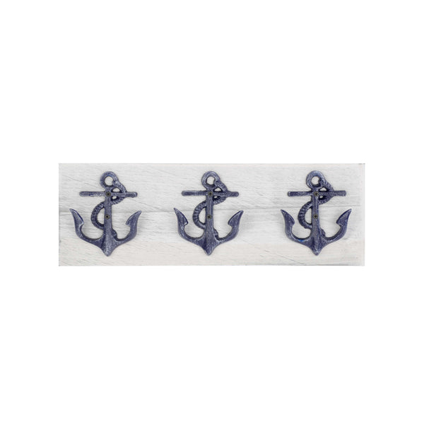 3 blue metal anchor hooks