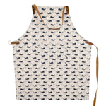 Blue whales pattern on white apron