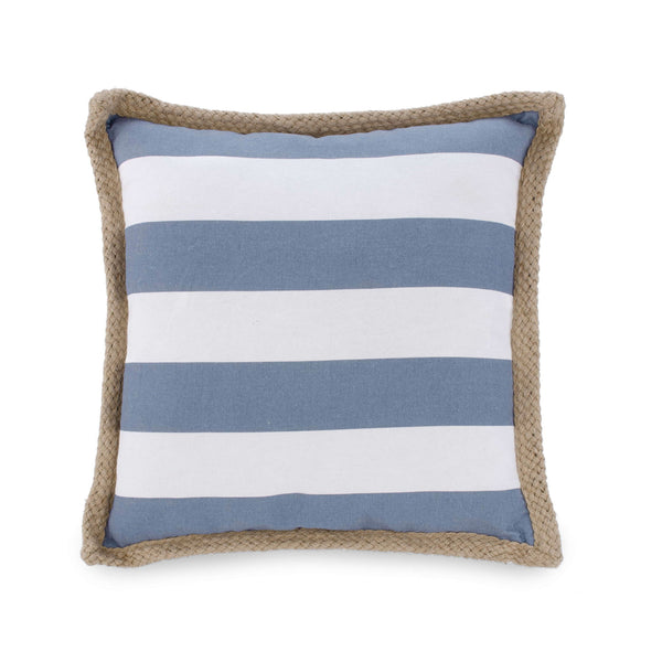 Blue striped cushion with jute