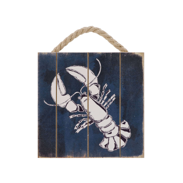 Hanging wall plaque - lobster on blue