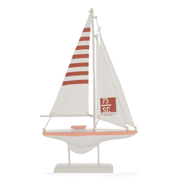 Decorative sailboat in white & salmon