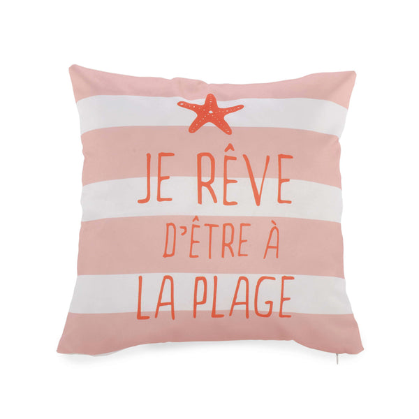 """Je rêve d'être à la plage"" Coral cushion ***Only one left!!!***"