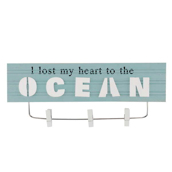 I LOST MY HEART TO THE OCEAN wall plaque with pins