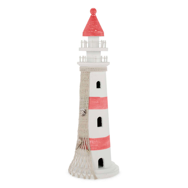 18'' decorative lighthouse in white & coral