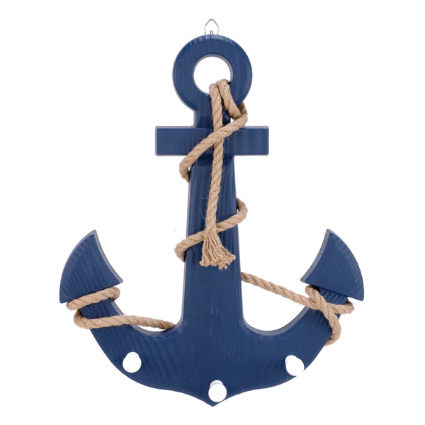Blue anchor wall hook x3 with rope trim