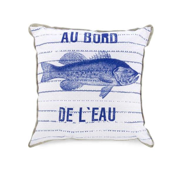 Blue fish cushion - Au bord de l'eau
