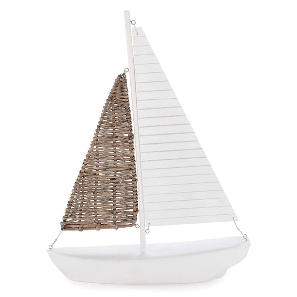 "Decorative 16"" sailboat in wicker & white"