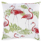 Cushion - Foliage & coral pink flamingos