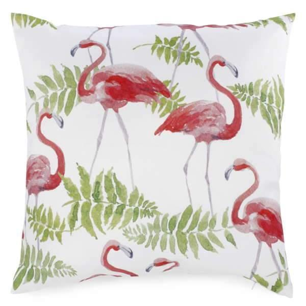 Cushion - foliage & coral flamingo
