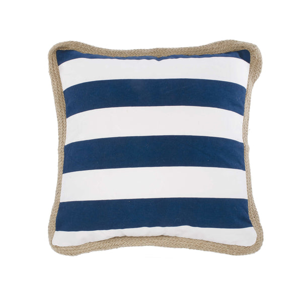 Navy blue & white striped cushion with jute
