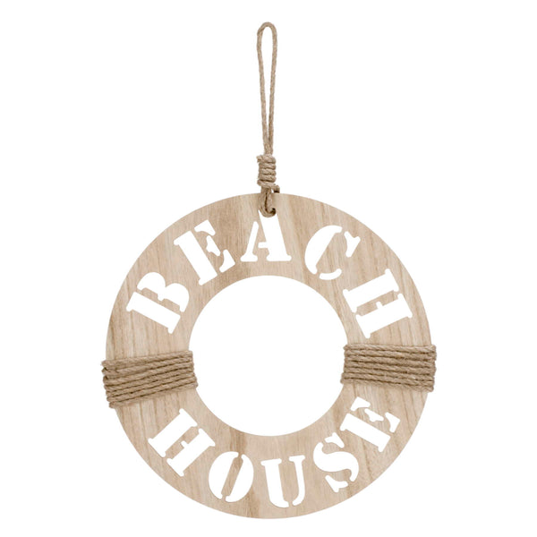 Natural Wood BEACH HOUSE hanging buoy