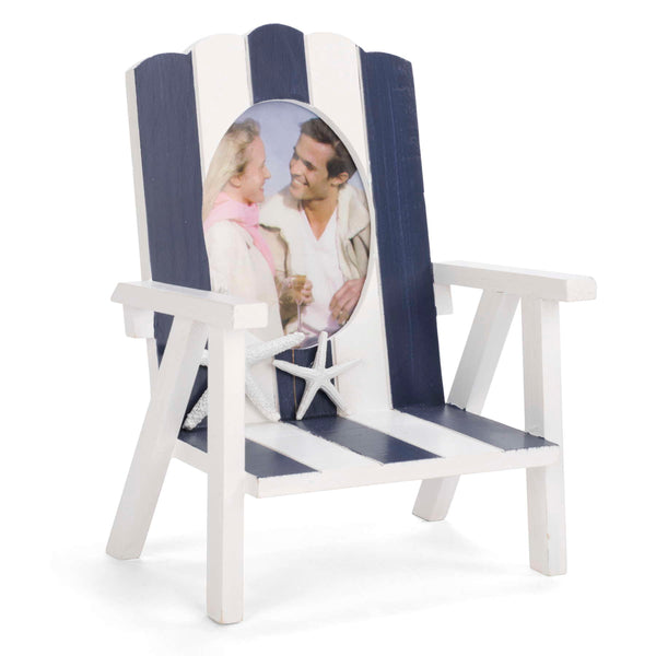 Blue & white beach chair photo frame