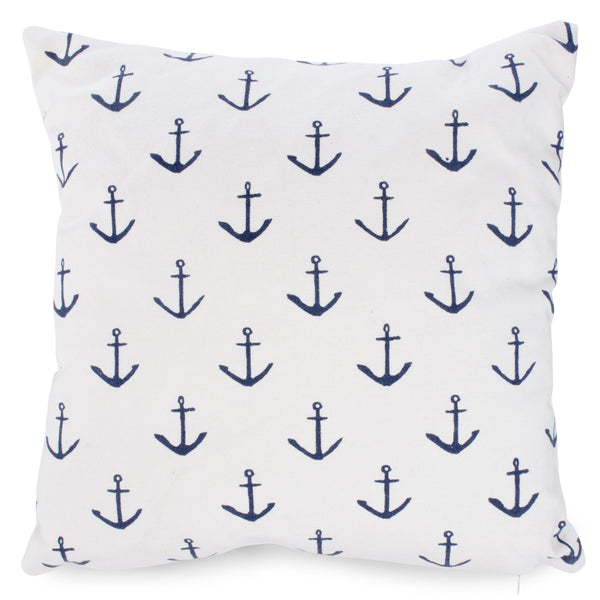 Nautical style White cushion with blue anchors