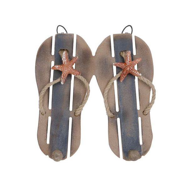 Blue & natural flip flop wall hook x2