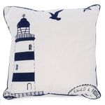 Navy blue lighthouse motif cushion