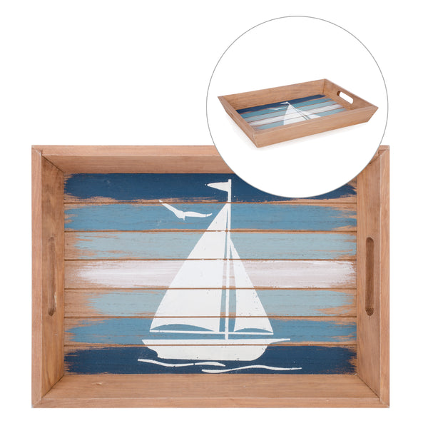 Natural tray with sailboat motif