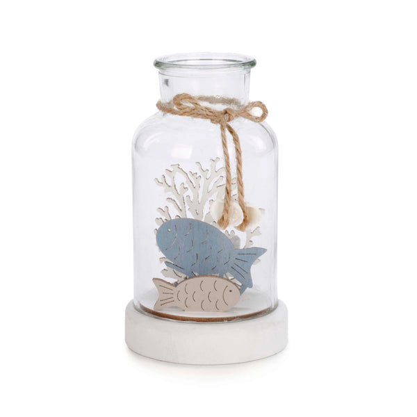 LED Glass Jar with Coral & Fishes