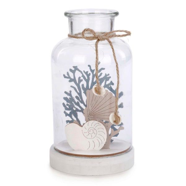 LED Glass Jar with Coral & Shells