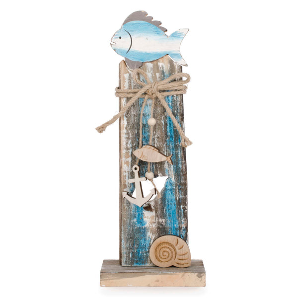 Fish and anchor on stand turquoise & natural decor