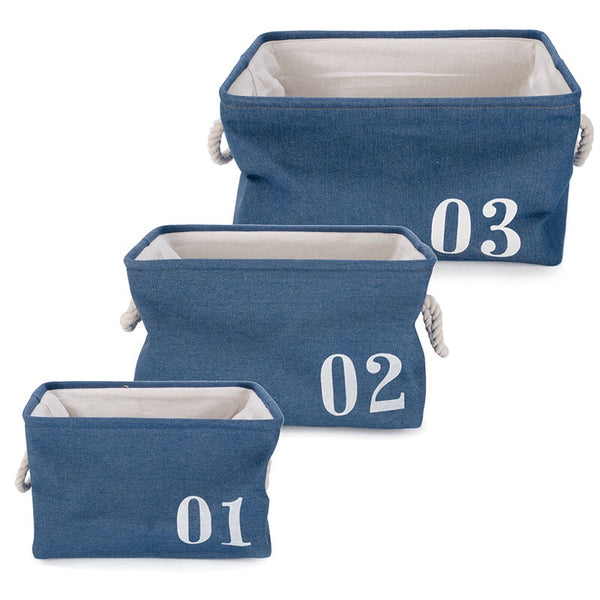 Set of 3 nautical style baskets