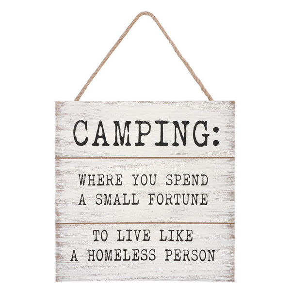Camping hanging plaque
