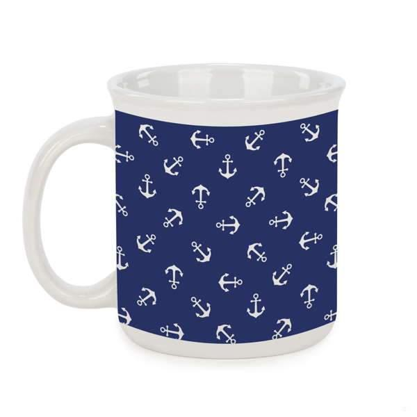 Navy blue coffee mug with white anchors
