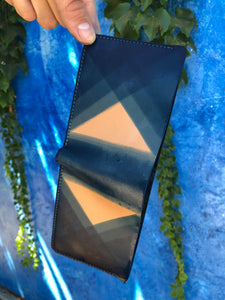 Custom Indigo Dyed Natural Vegetable Tanned Leather Bifold - You Choose the Pattern