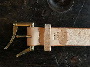 "1.5"" Natural Herman Oak Roughout Vegtan Belt - Double or Single Prong, Solid Brass or Nickel"