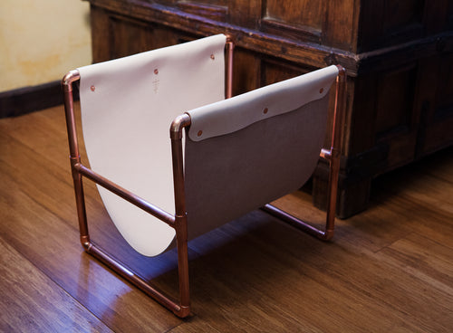 Raw Copper Pipe & Vegtan Leather Magazine/Record Stand