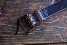 "Numbered Limited Edition 1.5"" Navy & Brown Sedgwick Double Prong Belt"