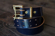 "1.5"" Double or Single Prong Quick Release Belt in Navy Sedgwick - Brass, Copper or Nickel"