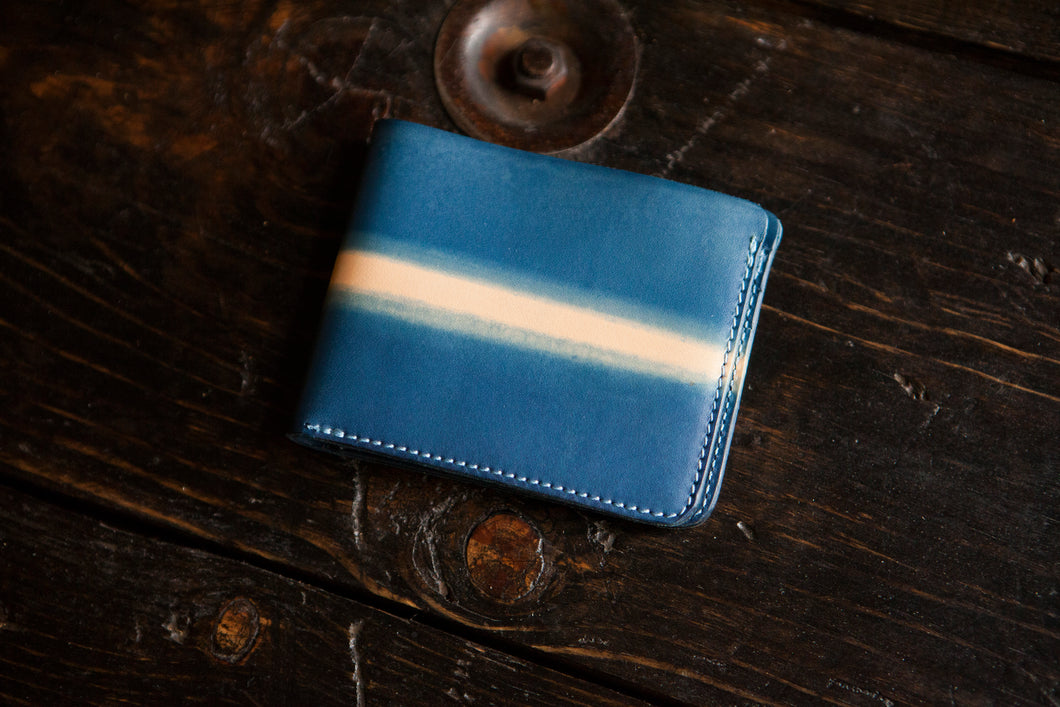 Indigo Dip Dyed Natural Vegeable Tanned Leather Bifold with