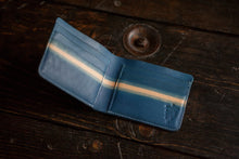 "Indigo Dip Dyed Natural Vegeable Tanned Leather Bifold with ""laser"" pattern"