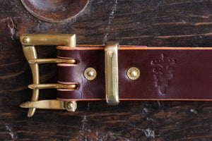 "1.5"" Brass Double Prong Quick Release Belt in Burgundy Sedgwick"