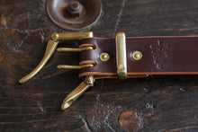 "1.5"" Brass Single or Double Prong Quick Release Belt in Burgundy Sedgwick"