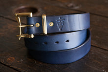 "1.5"" Double or Single Prong Indigo Leather Quick Release Belt with Solid Brass or Nickel Plated Hardware"