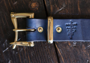 "1.25"" Indigo Dyed Leather Quick Release Belt with Solid Brass or Nickel Plated Hardware"