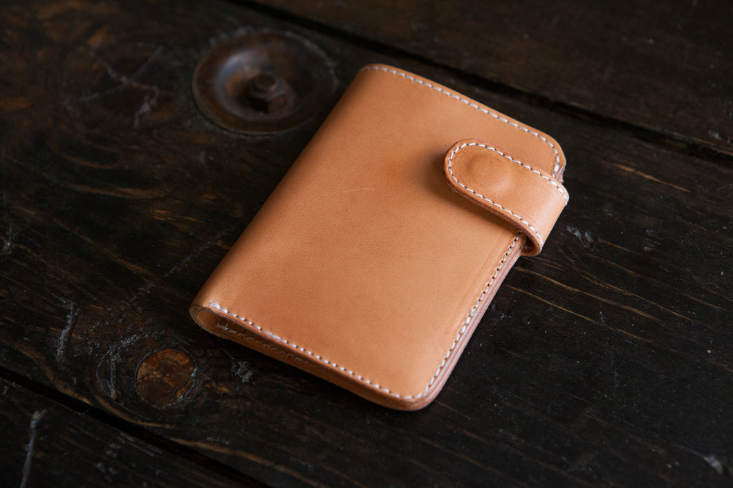Sun-Soaked Vegetable Tanned Vegtan Mid-Wallet Bifold with Snap full-size cash compartment 6 card slots + 2 hidden slots
