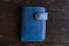 Solid Indigo Vegtan Mid-Wallet Bifold with Snap full-size cash compartment 6 card slots + 2 hidden slots