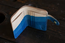 Diagonal Indigo Dipped Vegtan Mid-Wallet Bifold with Snap full-size cash compartment 6 card slots + 2 hidden slots
