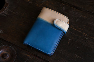 Indigo Dipped Vegtan Mid-Wallet Bifold with Snap full-size cash compartment 6 card slots + 2 hidden slots